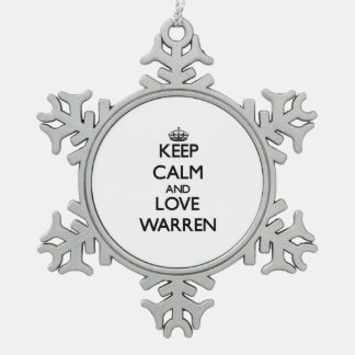 Keep Calm and love Warren Snowflake Pewter Christmas Ornament