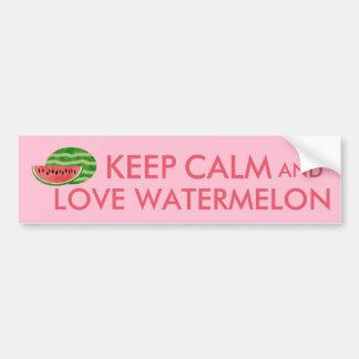 Keep Calm and Love Watermelon Customizable Gift Bumper Sticker