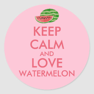 Keep Calm and Love Watermelon Customizable Gift Classic Round Sticker