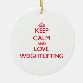 Keep calm and love Weightlifting Christmas Tree Ornaments