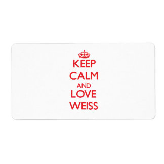 Keep calm and love Weiss Shipping Label