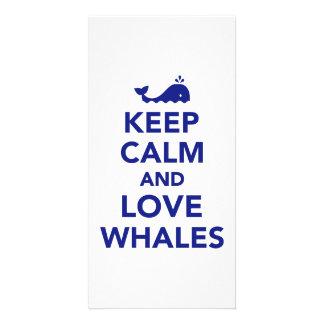 Keep calm and love whales photo card