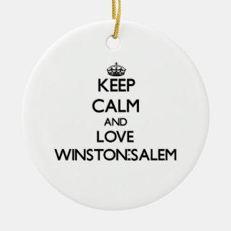 Keep Calm and love Winston-Salem Christmas Ornaments