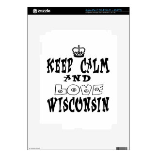 Keep calm and love Wisconsin Skins For iPad 3