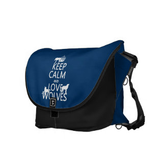 Keep Calm and Love Wolves (any background color) Courier Bag