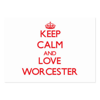 Keep Calm and Love Worcester Large Business Cards (Pack Of 100)
