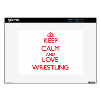 Keep calm and love Wrestling Decals For Large Netbooks