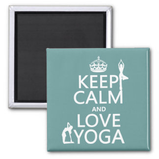 Keep Calm and Love Yoga (customizable colors) 2 Inch Square Magnet