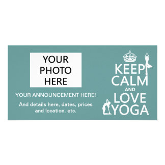 Keep Calm and Love Yoga (customizable colors) Card