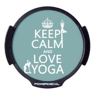 Keep Calm and Love Yoga (customizable colors) LED Car Window Decal