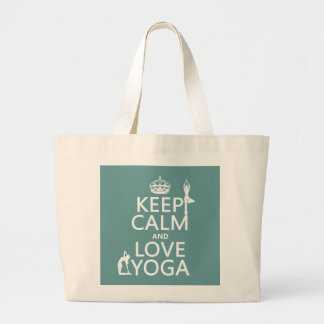 Keep Calm and Love Yoga (customizable colors) Large Tote Bag