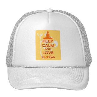 Keep Calm and Love Yoga original art print gift Trucker Hat