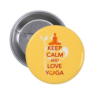 Keep Calm and Love Yoga - unique fun design Pins