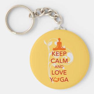Keep Calm and Love Yoga - unique fun design Keychain