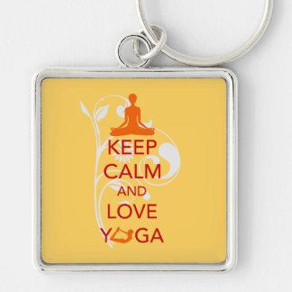 Keep Calm and Love Yoga - unique fun design Key Chain