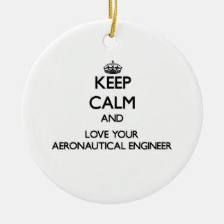 Keep Calm and Love your Aeronautical Engineer Christmas Ornaments
