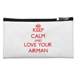 Keep Calm and Love your Airman Makeup Bags