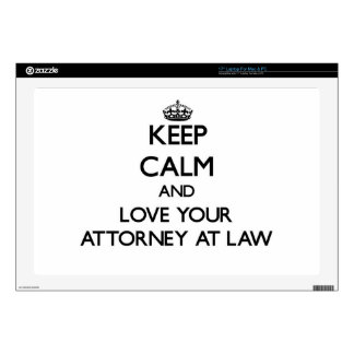"""Keep Calm and Love your Attorney At Law 17"""" Laptop Decals"""