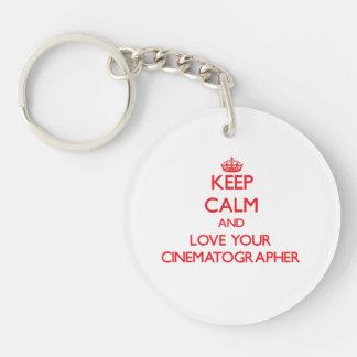 Keep Calm and Love your Cinematographer Single-Sided Round Acrylic Keychain