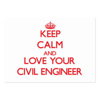 Keep Calm and Love your Civil Engineer Large Business Cards (Pack Of 100)