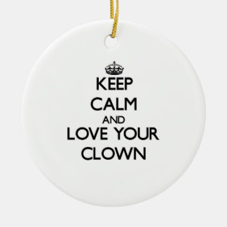 Keep Calm and Love your Clown Christmas Tree Ornaments