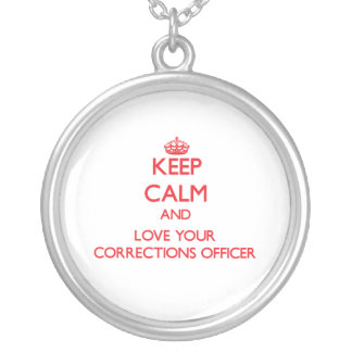 Keep Calm and Love your Corrections Officer Silver Plated Necklace