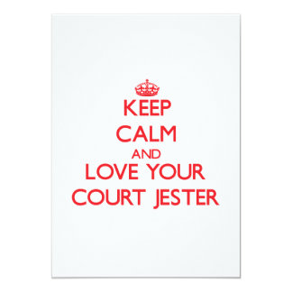 Keep Calm and Love your Court Jester 5x7 Paper Invitation Card