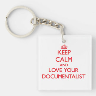 Keep Calm and Love your Documentalist Double-Sided Square Acrylic Keychain