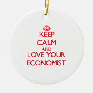 Keep Calm and Love your Economist Double-Sided Ceramic Round Christmas Ornament