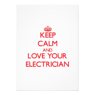Keep Calm and Love your Electrician Personalized Announcements