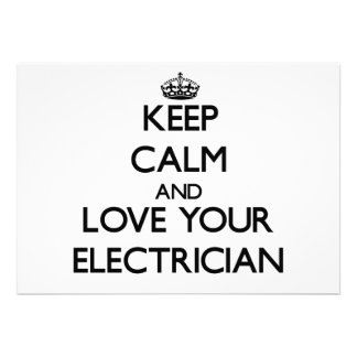 Keep Calm and Love your Electrician Custom Announcement