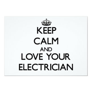 Keep Calm and Love your Electrician 5x7 Paper Invitation Card