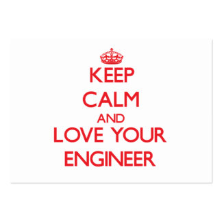 Keep Calm and Love your Engineer Large Business Cards (Pack Of 100)