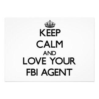 Keep Calm and Love your Fbi Agent Custom Announcements
