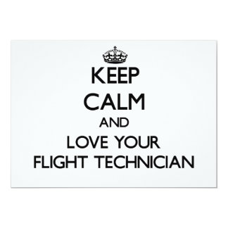 Keep Calm and Love your Flight Technician 5x7 Paper Invitation Card