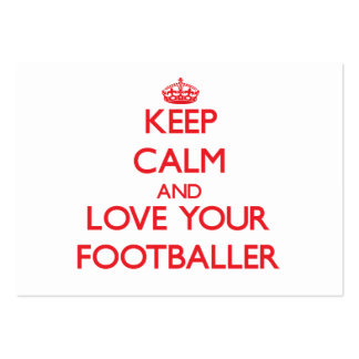 Keep Calm and Love your Footballer Large Business Cards (Pack Of 100)