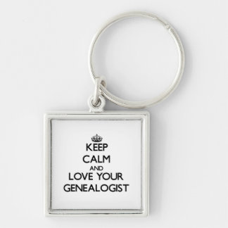 Keep Calm and Love your Genealogist Silver-Colored Square Keychain