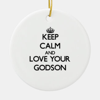 Keep Calm and Love your Godson Double-Sided Ceramic Round Christmas Ornament