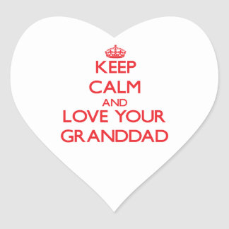 Keep Calm and Love your Granddad Heart Sticker