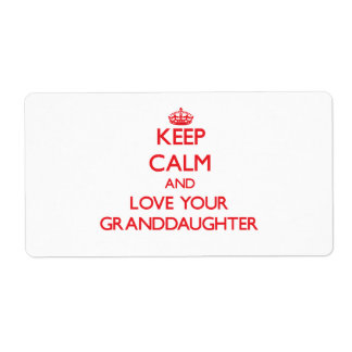 Keep Calm and Love your Granddaughter Shipping Label