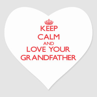 Keep Calm and Love your Grandfather Heart Sticker