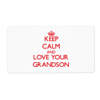 Keep Calm and Love your Grandson Shipping Label