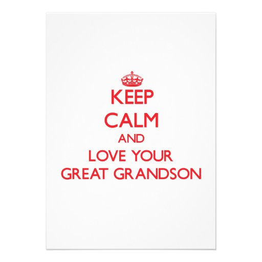Keep Calm and Love your Great Grandson Personalized Invite