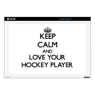"Keep Calm and Love your Hockey Player 17"" Laptop Decals"