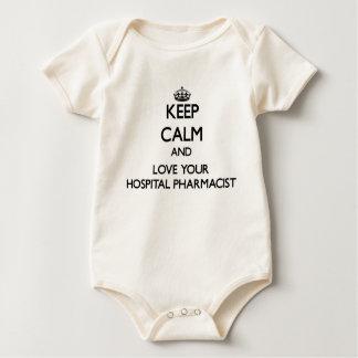 Keep Calm and Love your Hospital Pharmacist Baby Bodysuit