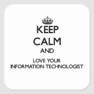 Keep Calm and Love your Information Technologist Square Stickers