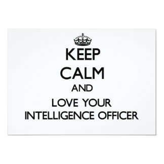 Keep Calm and Love your Intelligence Officer 5x7 Paper Invitation Card