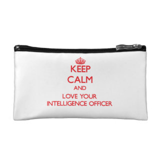 Keep Calm and Love your Intelligence Officer Cosmetics Bags