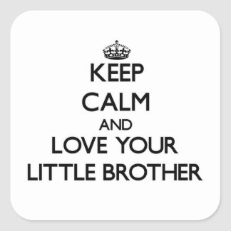 Keep Calm and Love your little Brother Square Sticker