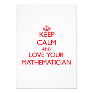 Keep Calm and Love your Mathematician Personalized Invite